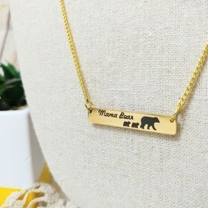 Mama Bear 2 Kids Bar Necklace Gift For Mom Gold